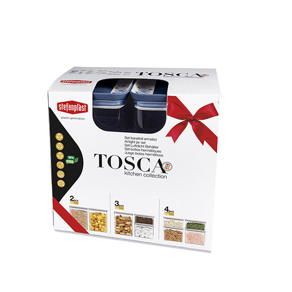 Set 3 pz barattoli rettangolari Tosca