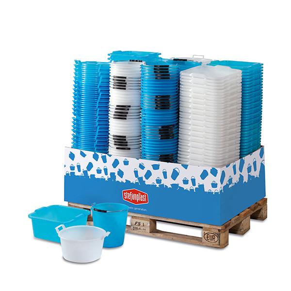 Basins and polyethylene buckets display